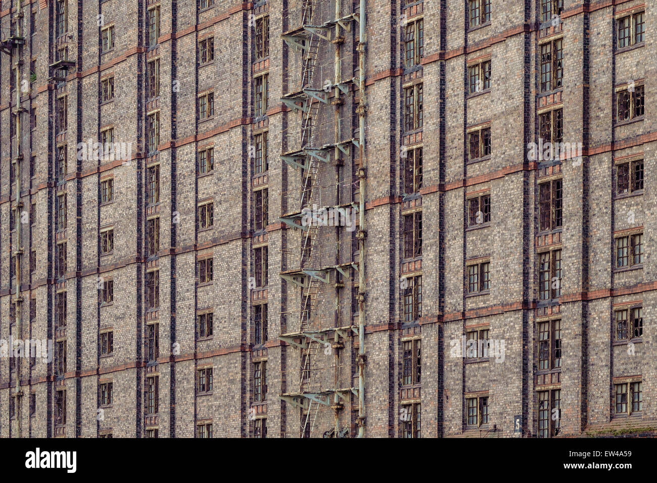 Detail of the derelict Tobacco Warehouse in Liverpool. One of the largest brick buildings in the world. Stock Photo