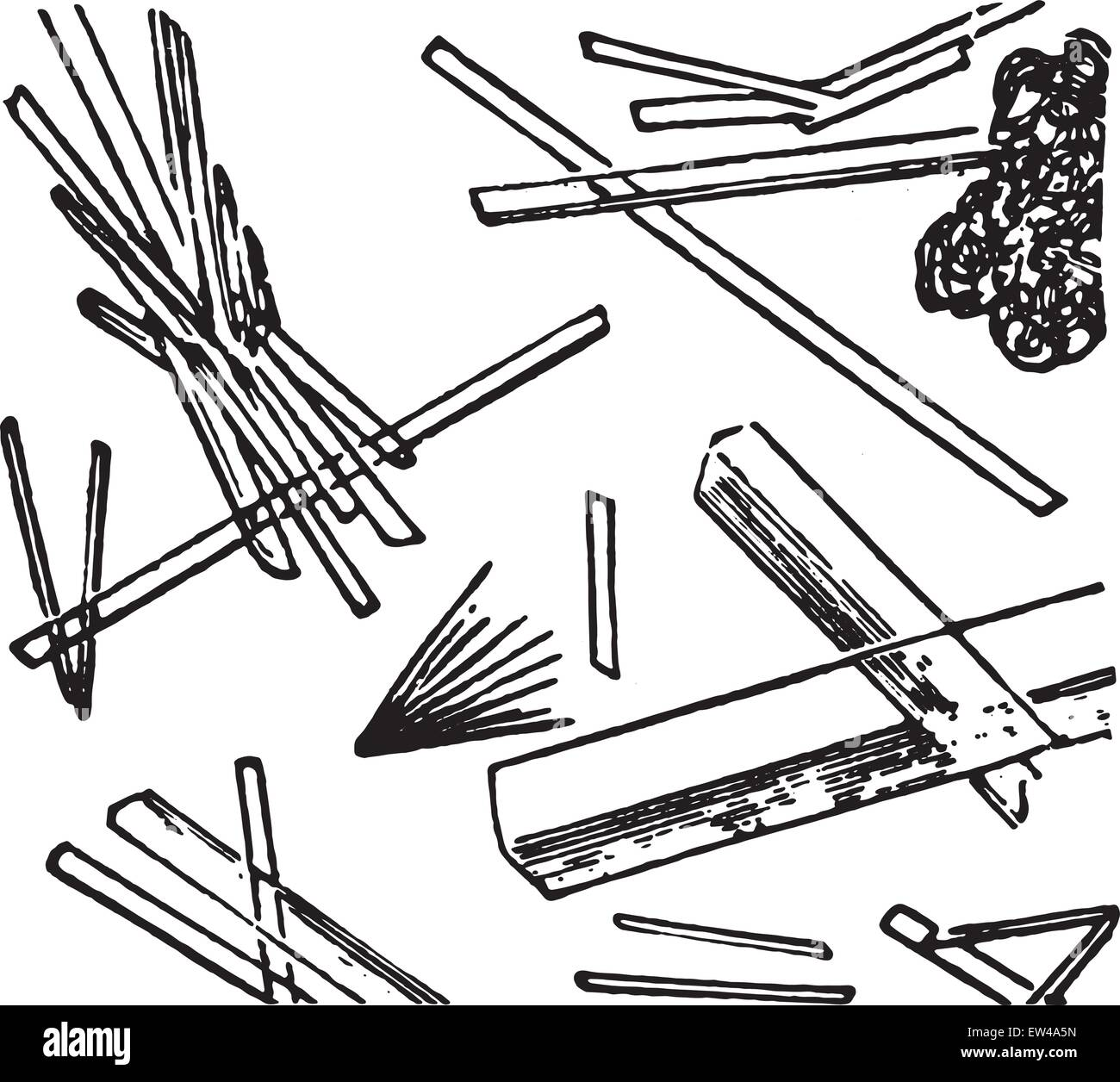 Calcium sulphate, elongated transparent needles or tablets, vintage engraved illustration. - Stock Vector