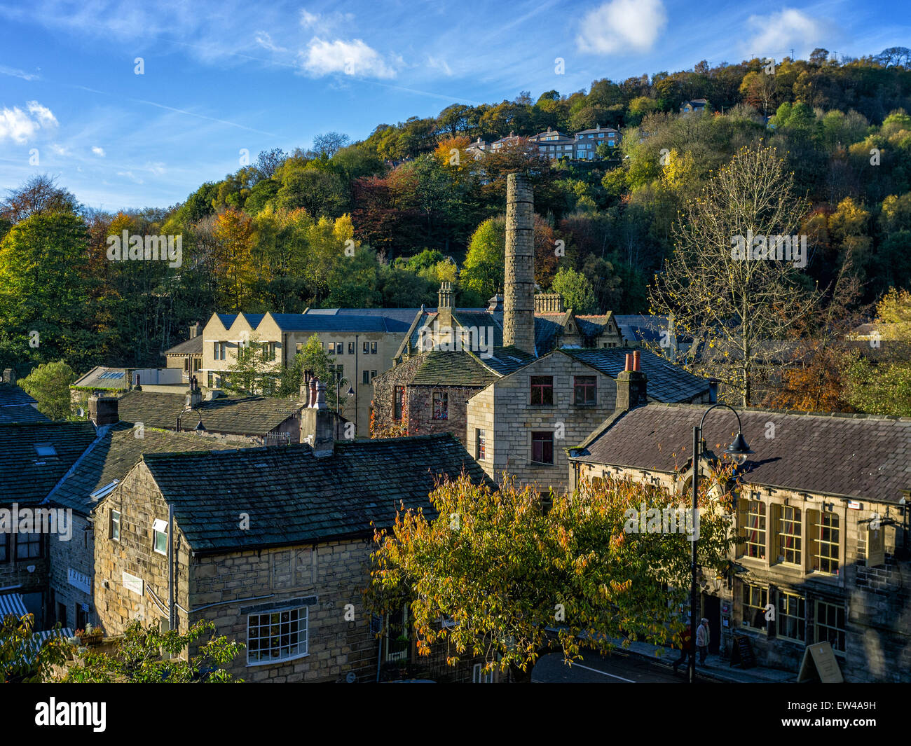 Autumn shot of the small market town of Hebden Bridge, in West Yorkshire, England. - Stock Image