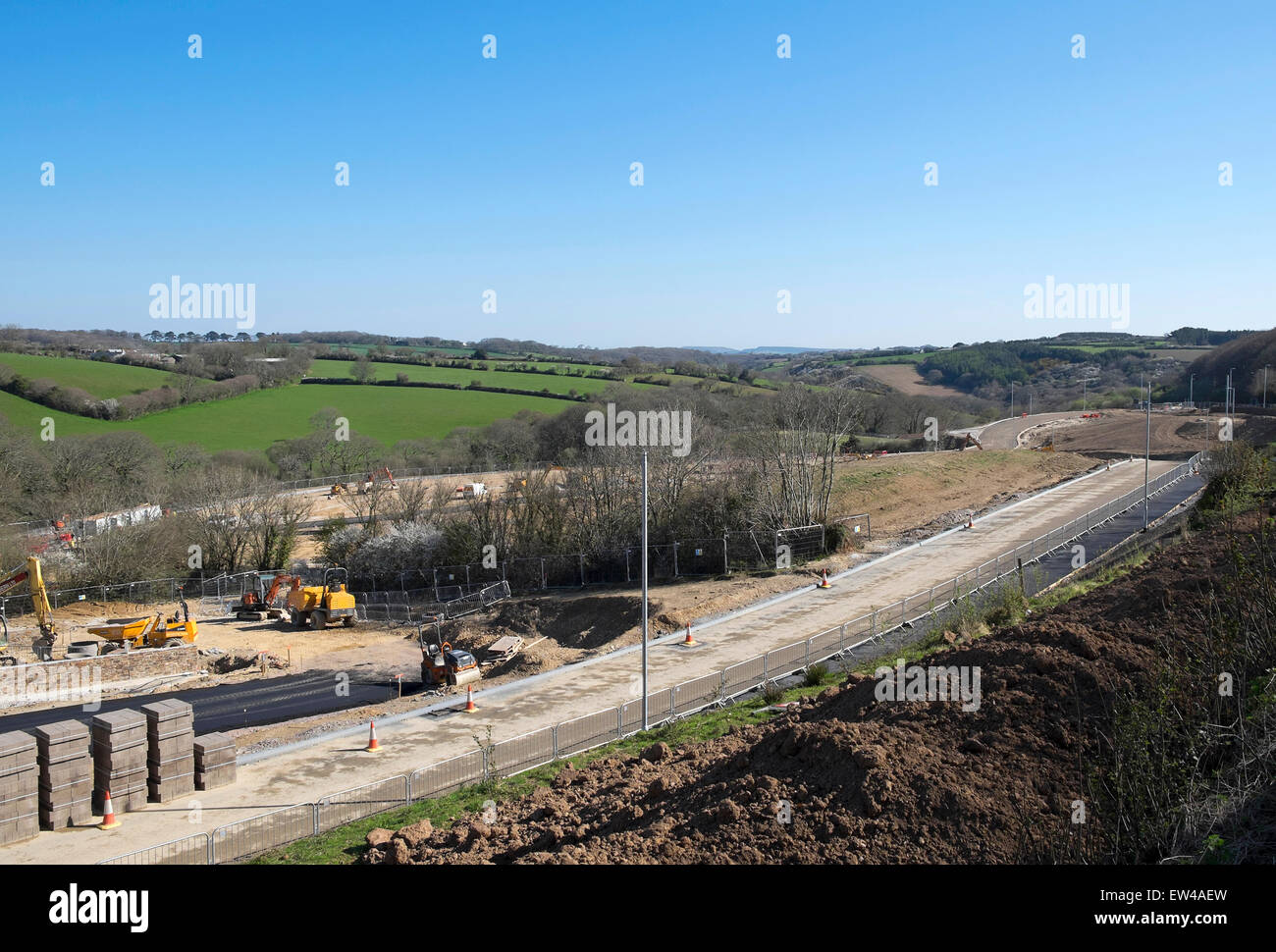A greenbelt new development for housing and supermarket on Royal Duchy land near Truro in Cornwall, UK - Stock Image