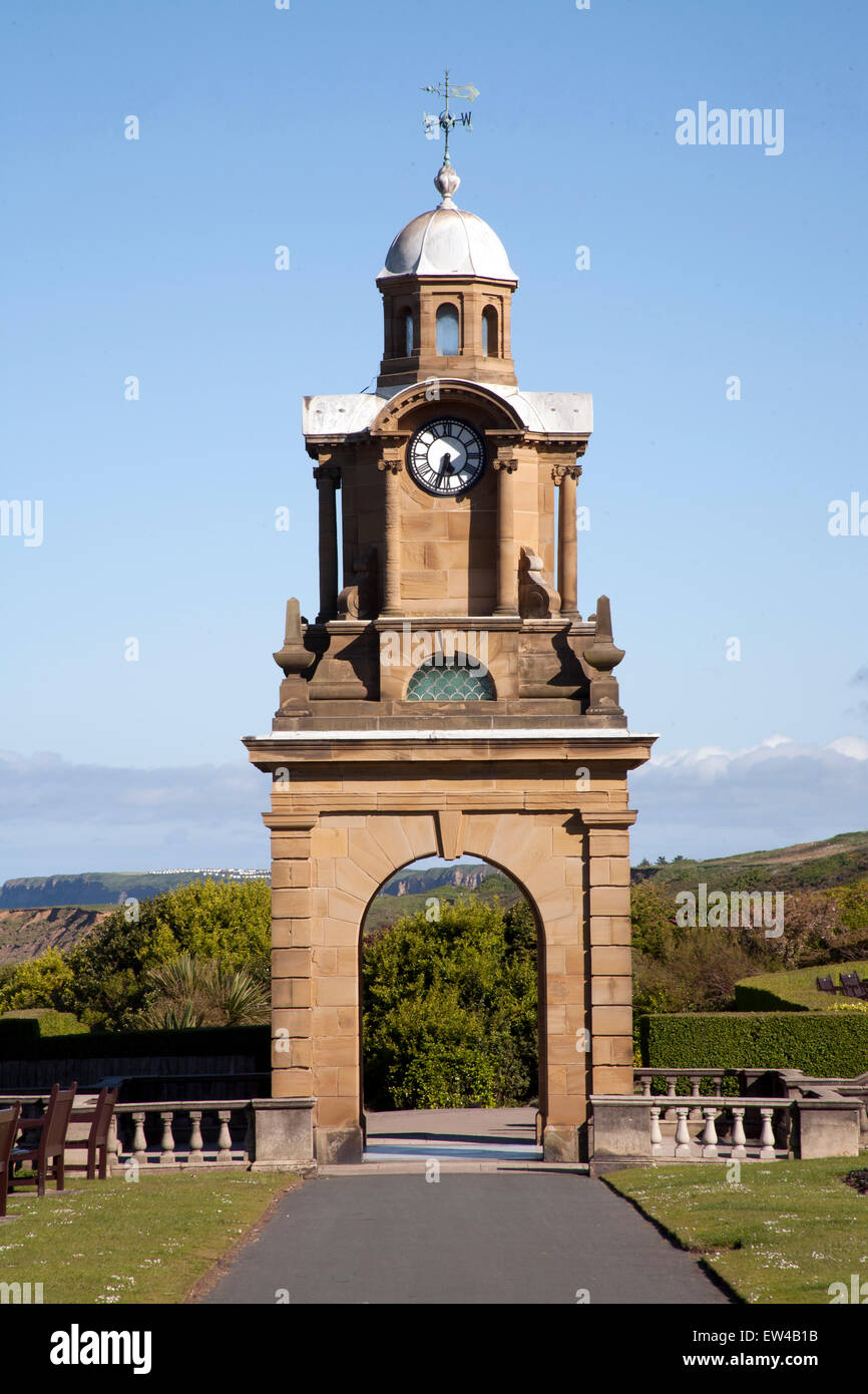 The  Holbeck Clock Tower on the Esplanade, Scarborough, North Yorkshire, England UK - Stock Image