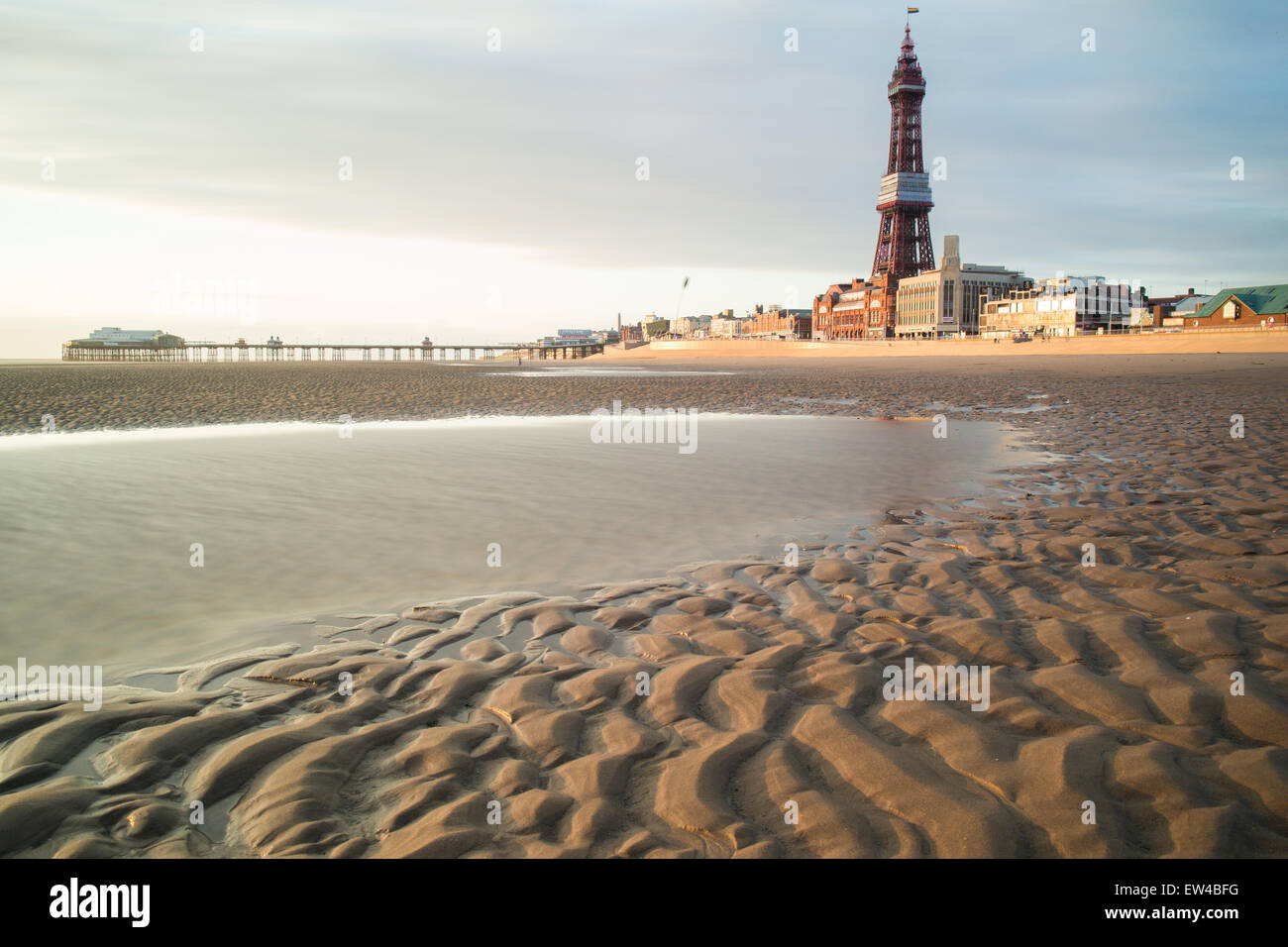 Blackpool, Lancashire, UK. 17th June, 2015. A very wet day but the weather clears for a bit of late summer sunshine - Stock Image