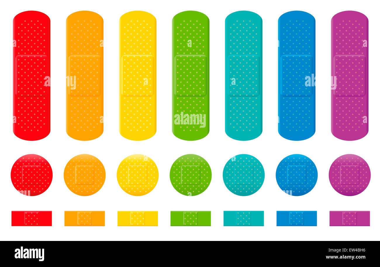 Plaster collection - seven different colors, three various sizes. - Stock Image