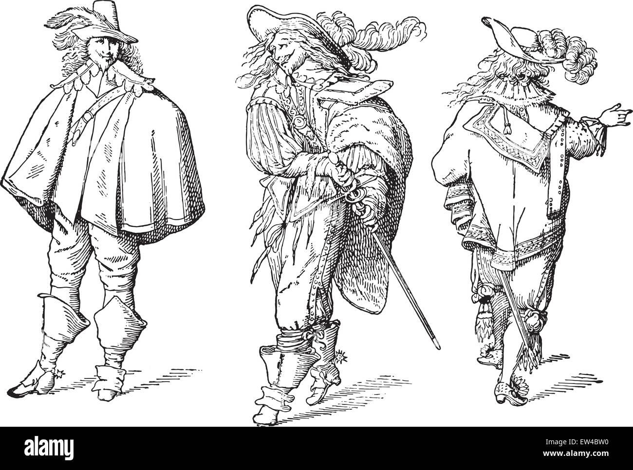 French gentlemen after Abraham Bosse (seventeenth century), vintage engraved illustration. Industrial encyclopedia - Stock Vector