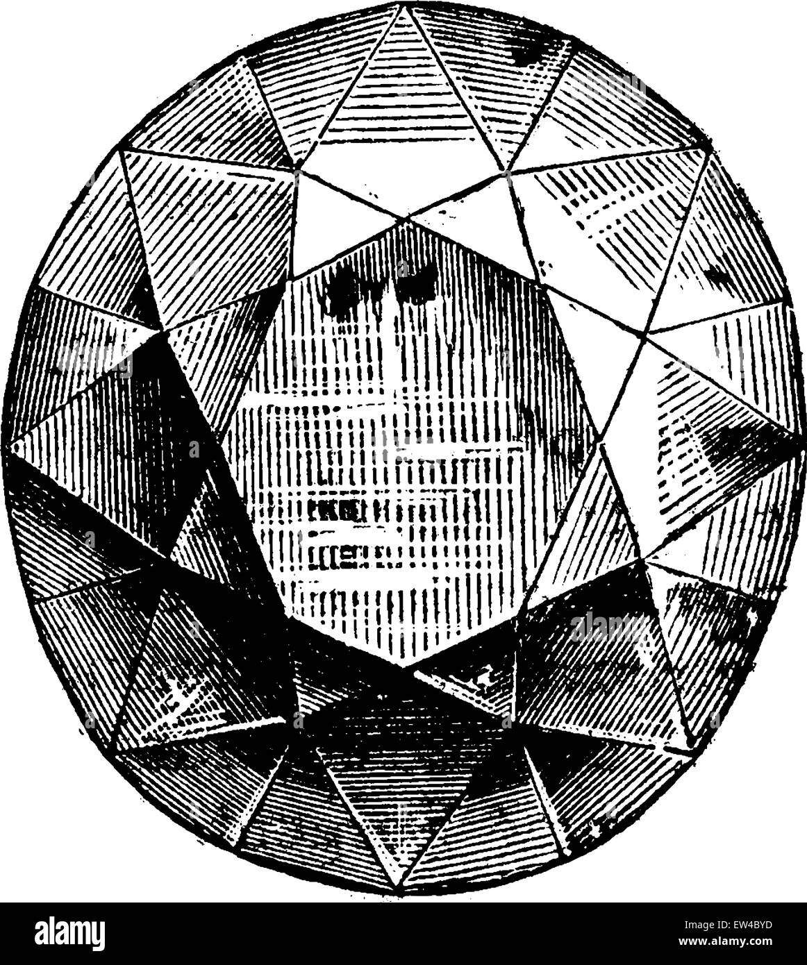 The Koh-i-noor, vintage engraved illustration. Industrial encyclopedia E.-O. Lami - 1875. - Stock Image