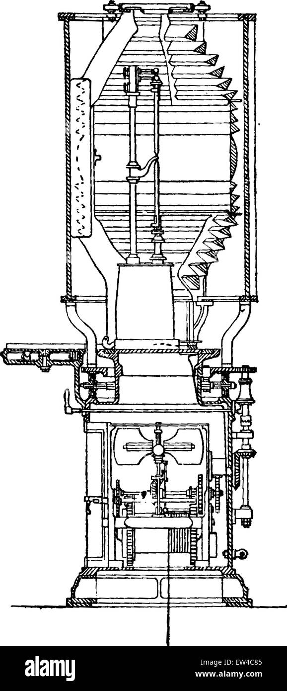 vertical section of the apparatus electric light lighthouse planier,  vintage engraved illustration  industrial encyclopedia