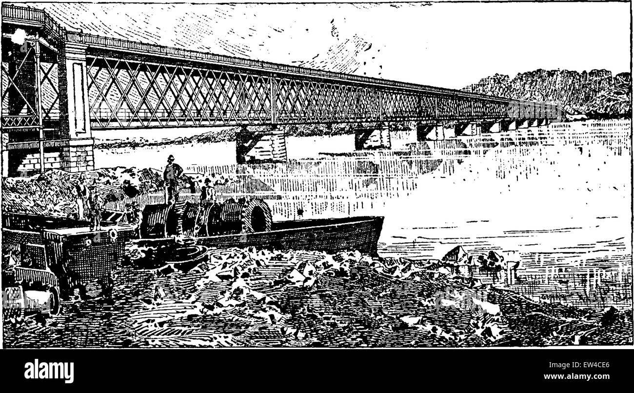 Truss Bridge Stock Vector Images Alamy Diagram Beam Road And Rail To Viana Portugal Vintage Engraved Illustration