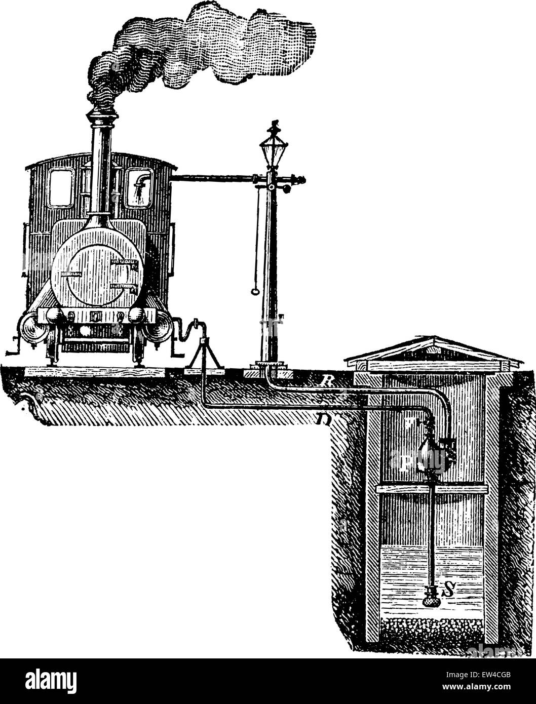 Pulsometer used in railways, vintage engraved illustration. Industrial encyclopedia E.-O. Lami - 1875. Stock Vector