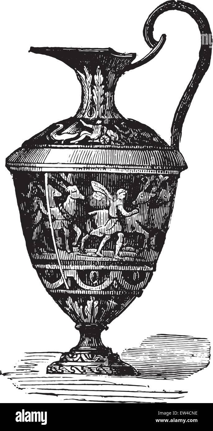 Glazed ewer, vintage engraved illustration. Industrial encyclopedia E.-O. Lami - 1875. Stock Vector