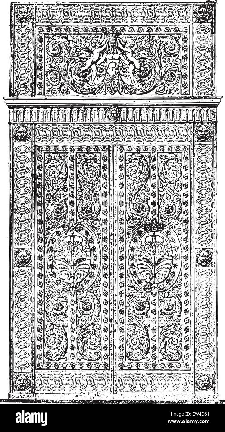 Forged iron gate and chased the Apollo Gallery, vintage engraved illustration. Industrial encyclopedia E.-O. Lami - Stock Vector