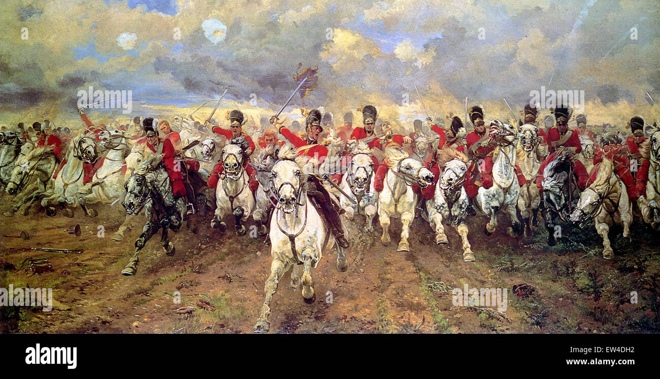 'Scotland Forever! is an 1881 painting by Lady Butler depicting the start of the cavalry charge of the Royal - Stock Image