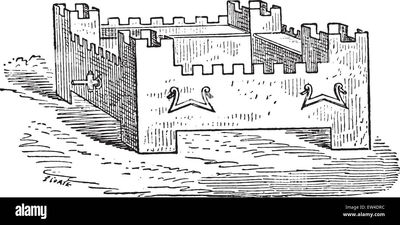 Braising shaped citadel, vintage engraved illustration. - Stock Vector