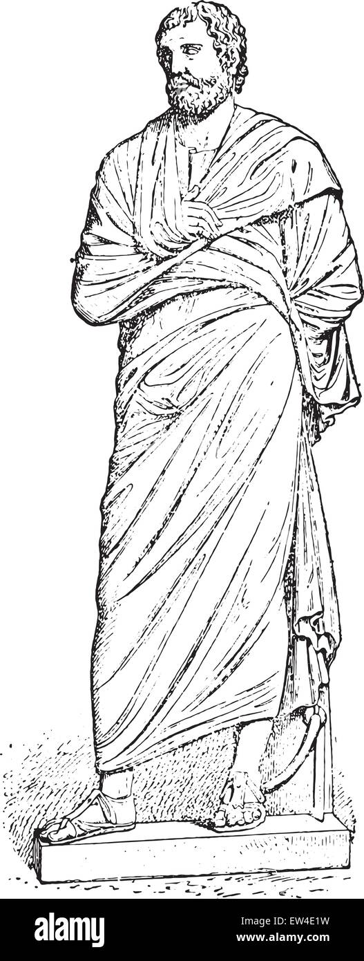 Pallium (after a statue of the museum), vintage engraved illustration. - Stock Image
