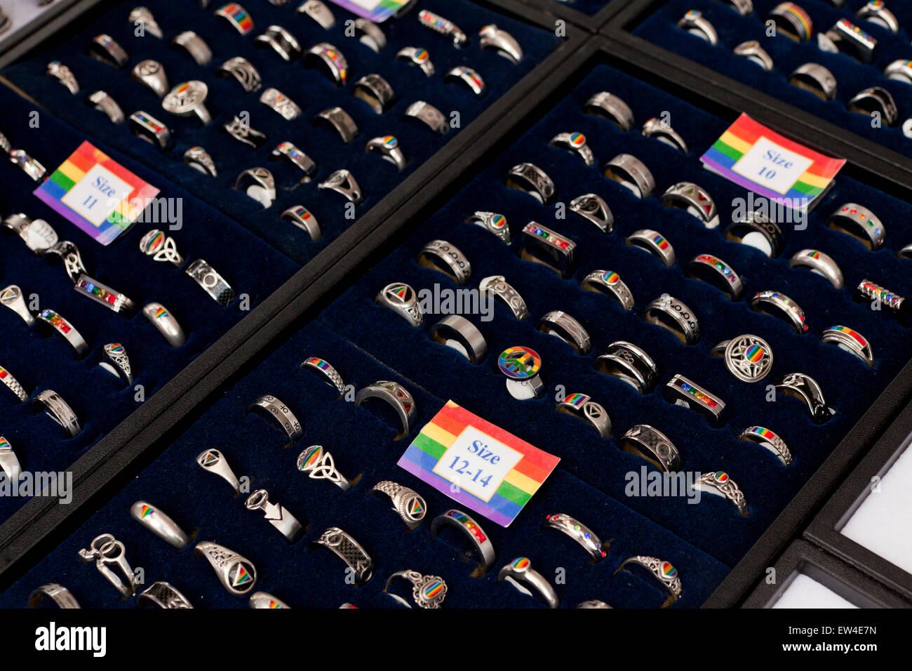 Gay themed rings sale display - USA - Stock Image