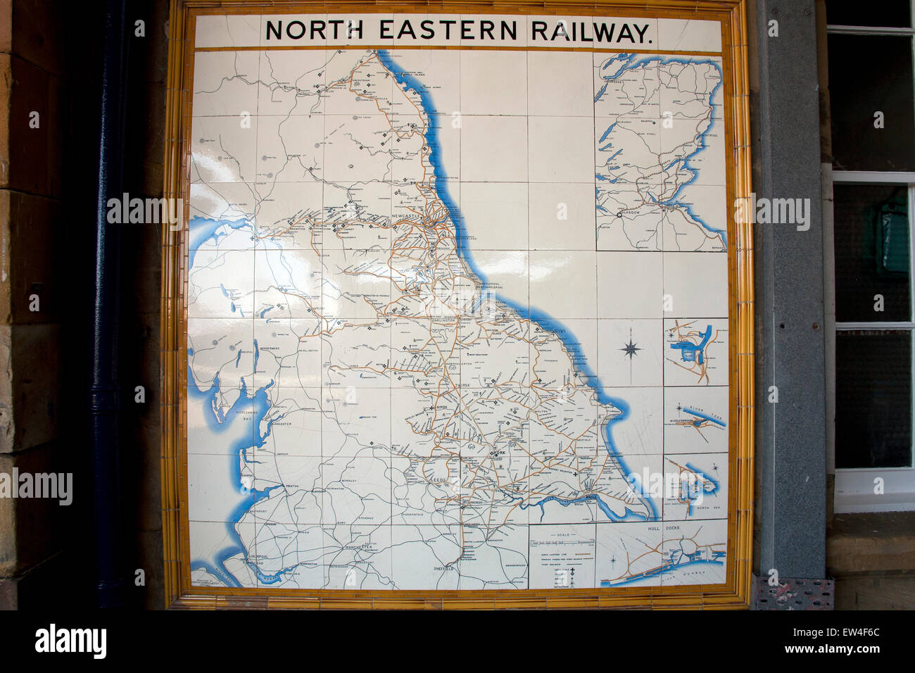 Tiled map showing the route of the old North Eastern Railway, Scarborough Station, Scarborough, North Yorkshire, - Stock Image