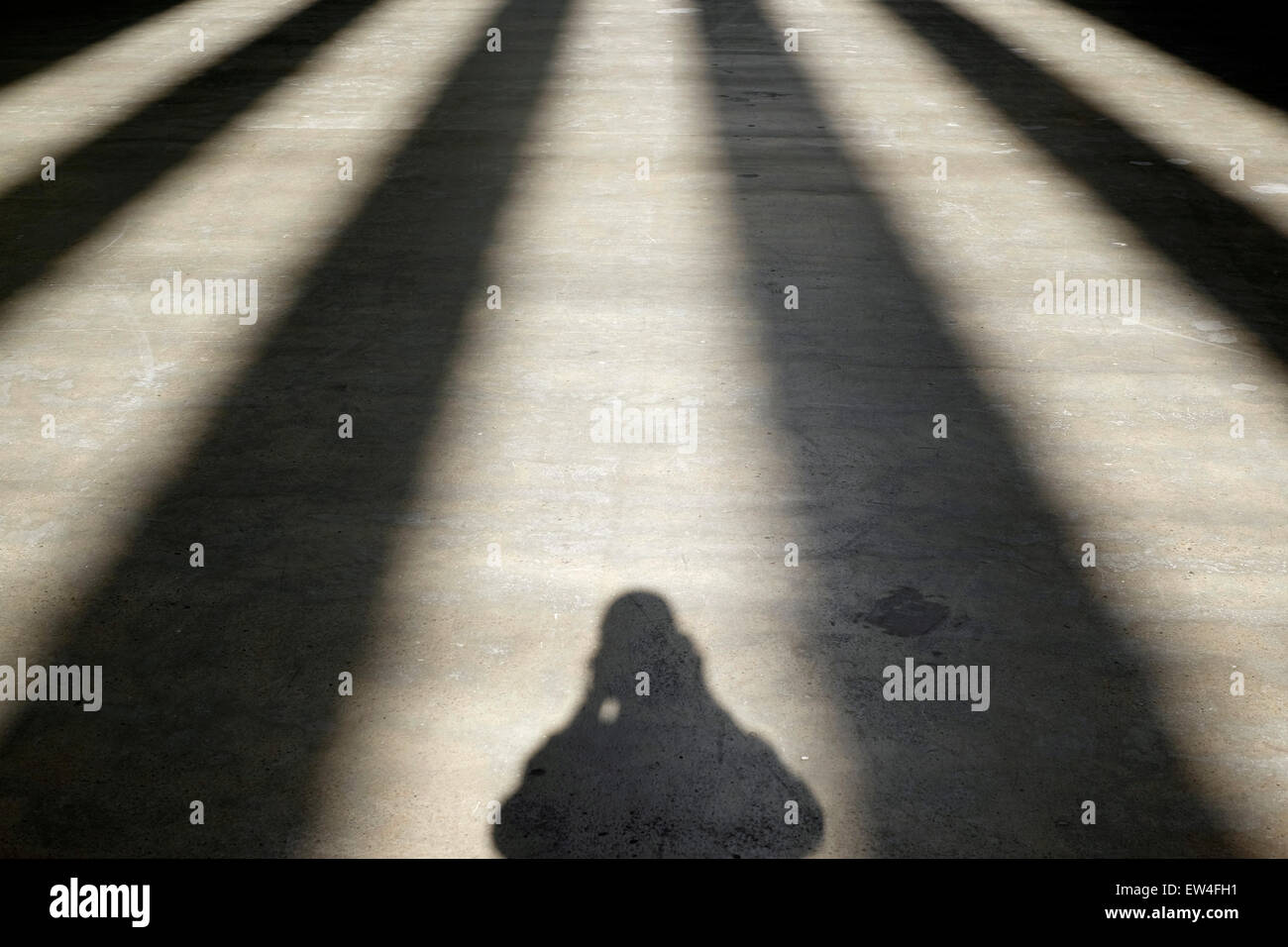 Self-portrait in shadows - Stock Image