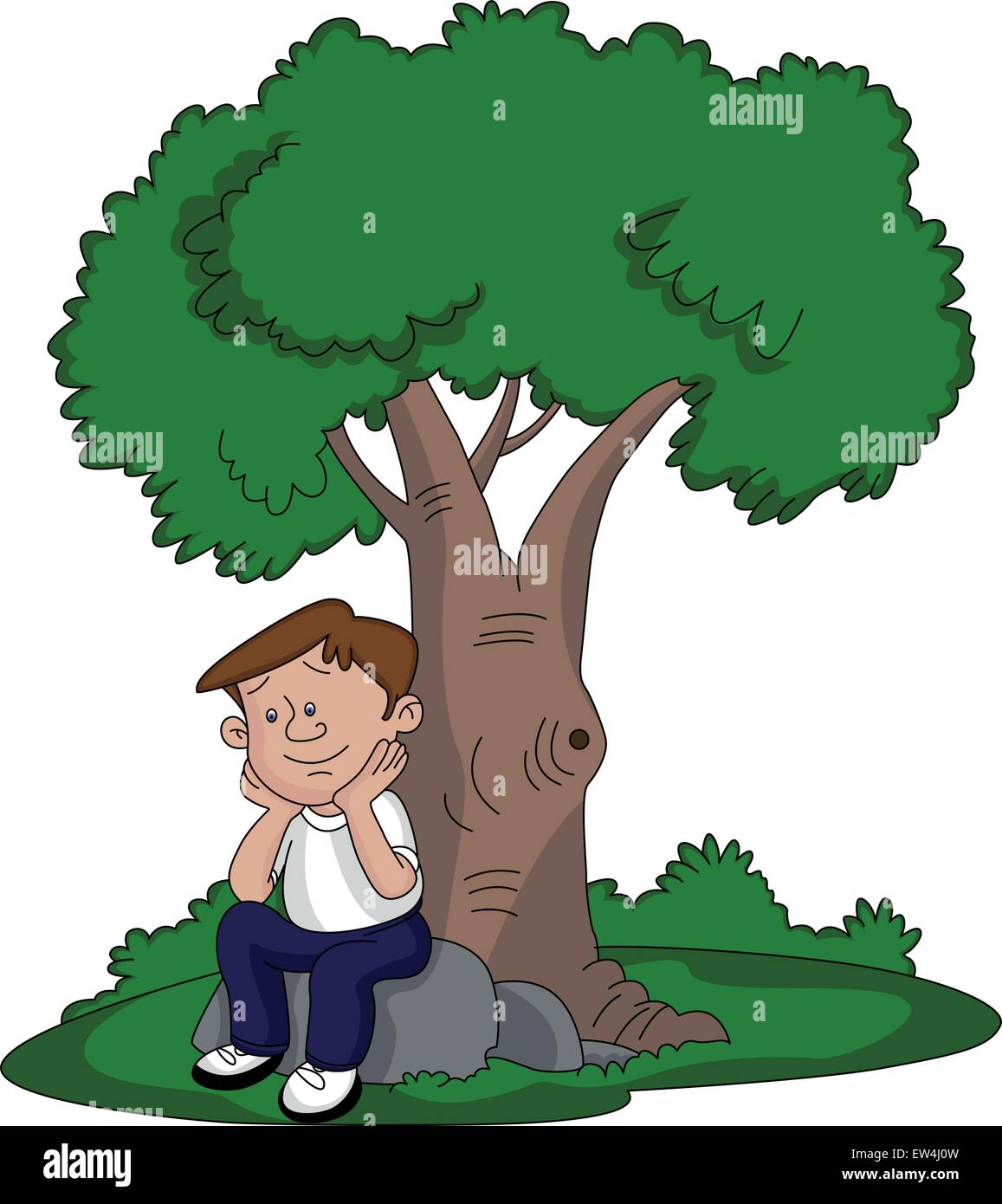Vector Illustration Of Thoughtful Young Man Sitting Under A Tree Stock Vector Image Art Alamy This video where he is a. https www alamy com stock photo vector illustration of thoughtful young man sitting under a tree 84309817 html