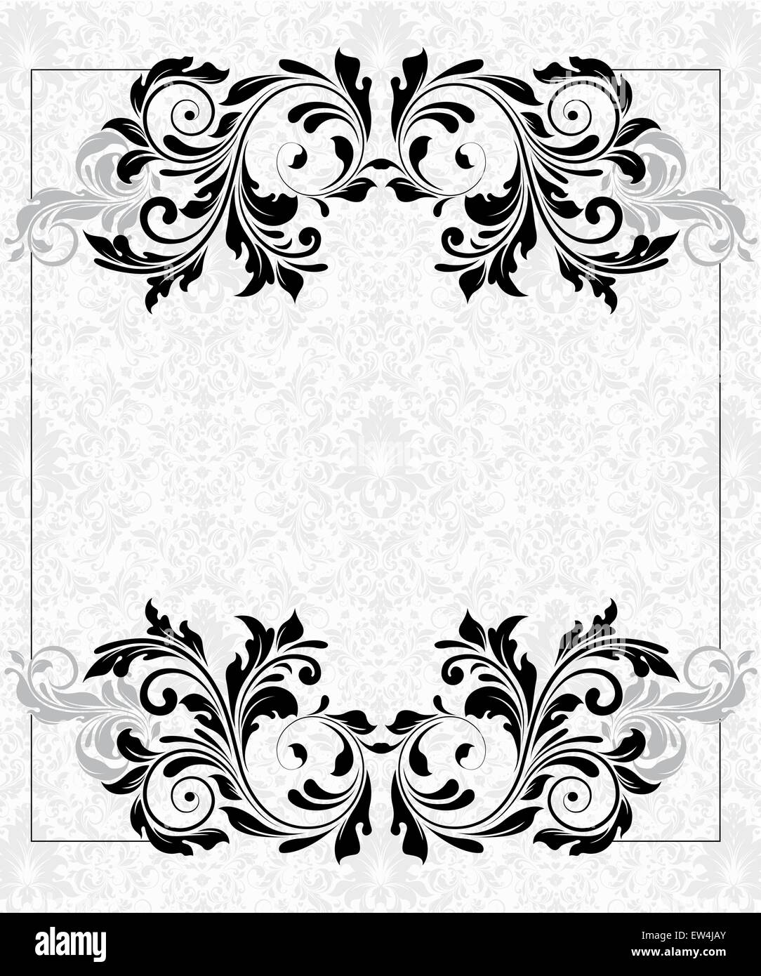 Vintage invitation card with ornate elegant abstract floral design, black and gray flowers on light gray and white - Stock Image