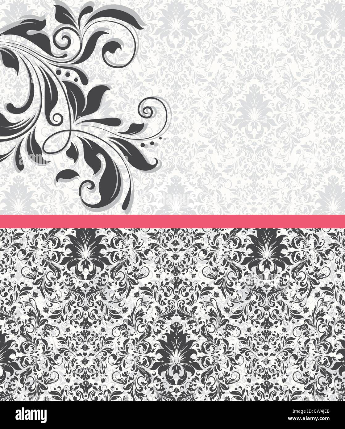 Vintage invitation card with ornate elegant abstract floral design vintage invitation card with ornate elegant abstract floral design gray flowers on pale green and white background with candy pink ribbon vector stopboris Image collections