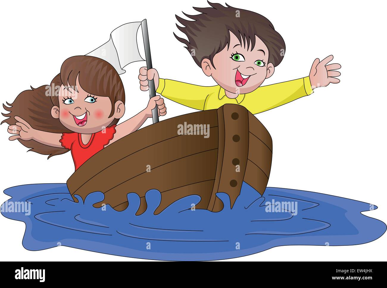 Vector illustration of happy boy and girl traveling on boat. - Stock Vector