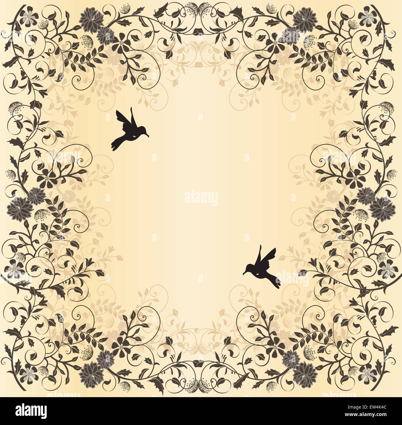 Vintage Wedding Invitation Card With Floral Design And Birds Gray On Stock Vector Image Art Alamy