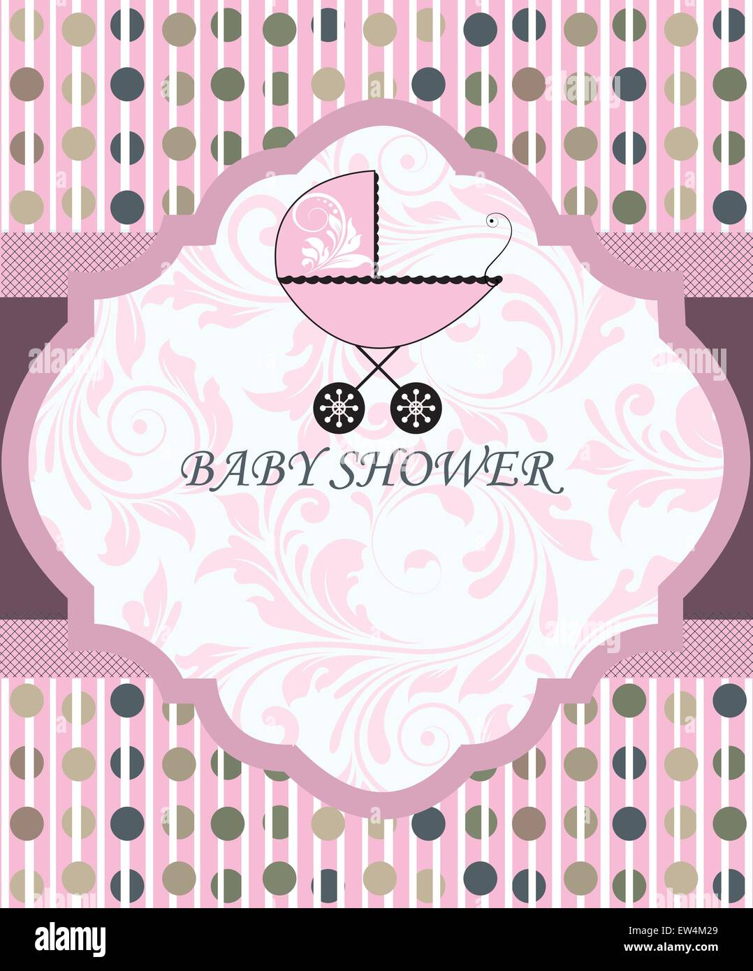 Vintage baby shower invitation card with ornate elegant retro stock vintage baby shower invitation card with ornate elegant retro abstract floral design pink with baby carriage and polka dots vector illustration filmwisefo