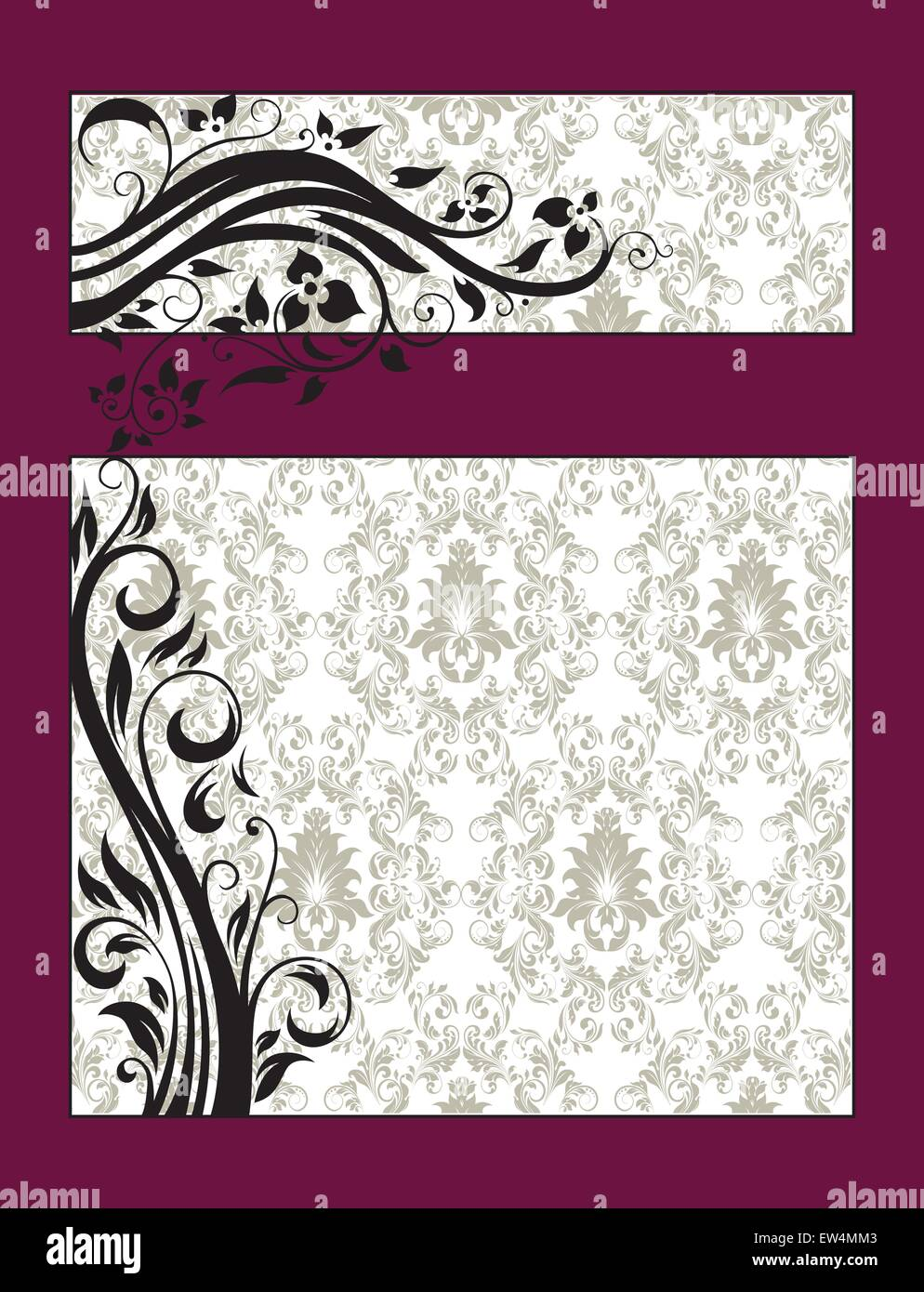 Vintage invitation card with ornate elegant retro abstract floral vintage invitation card with ornate elegant retro abstract floral design black flowers and leaves on pale green and white background with maroon frame stopboris Choice Image