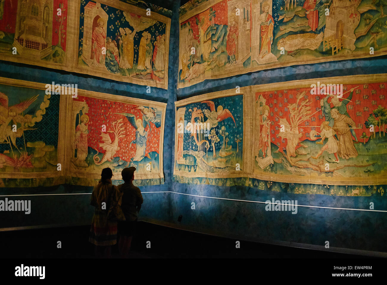 France, Maine-et-Loire, Angers, Apocalypse of Angers Tapestries on Display at Chateau d'Angers - Stock Image