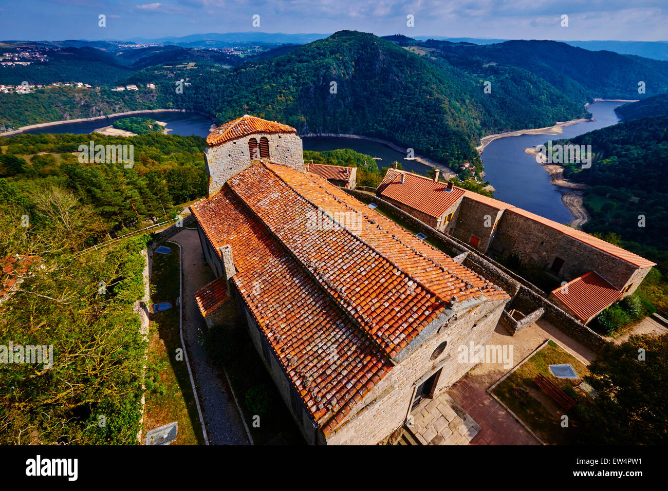 France, Loire, village of Chambles, Saint Pierre church above the Loire valley - Stock Image
