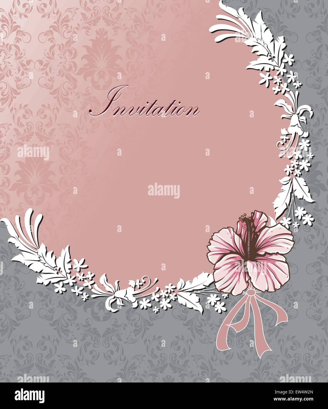 Vintage invitation card with ornate elegant retro abstract floral vintage invitation card with ornate elegant retro abstract floral design pink and white flowers and leaves in semi circle arrangement on light pink and stopboris Images