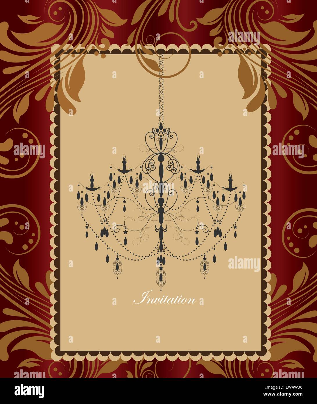 Vintage invitation card with ornate elegant retro abstract floral vintage invitation card with ornate elegant retro abstract floral design chandelier in frame border on shiny gold and red flowers and leaves background stopboris Choice Image