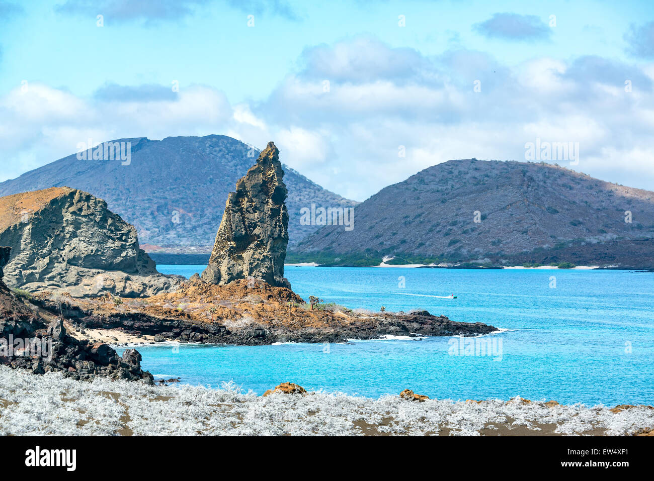 View of the famous Pinnacle Rock in the Galapagos Islands - Stock Image