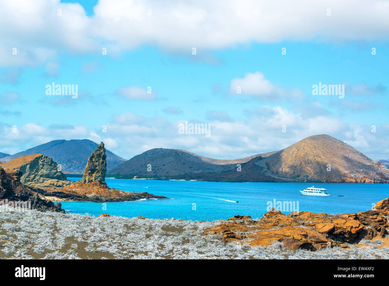 View of Pinnacle Rock and Sullivan Bay in the Galapagos Islands - Stock Image