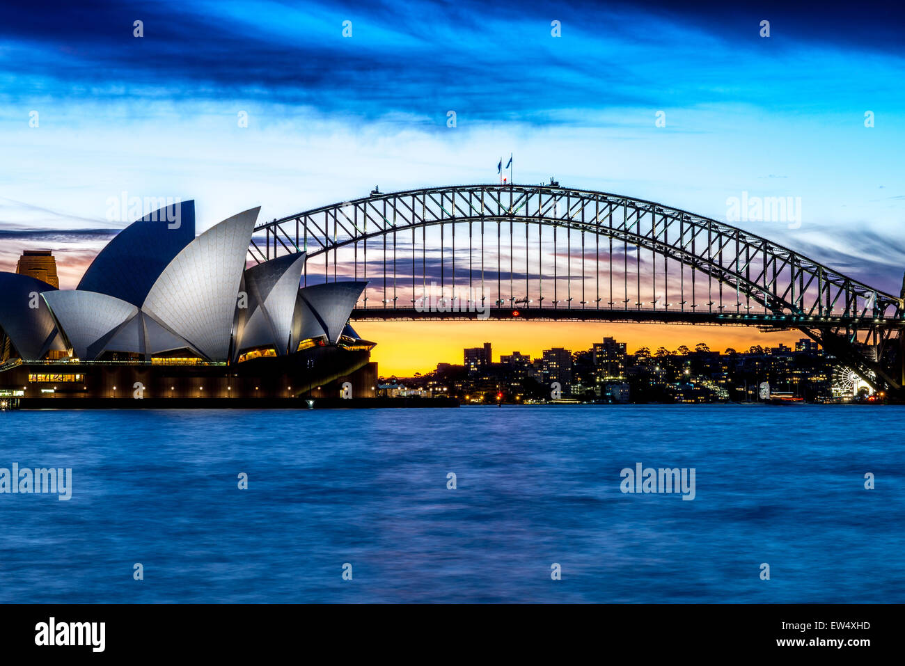 Sydney Opera House and Bridge at sunset - Stock Image