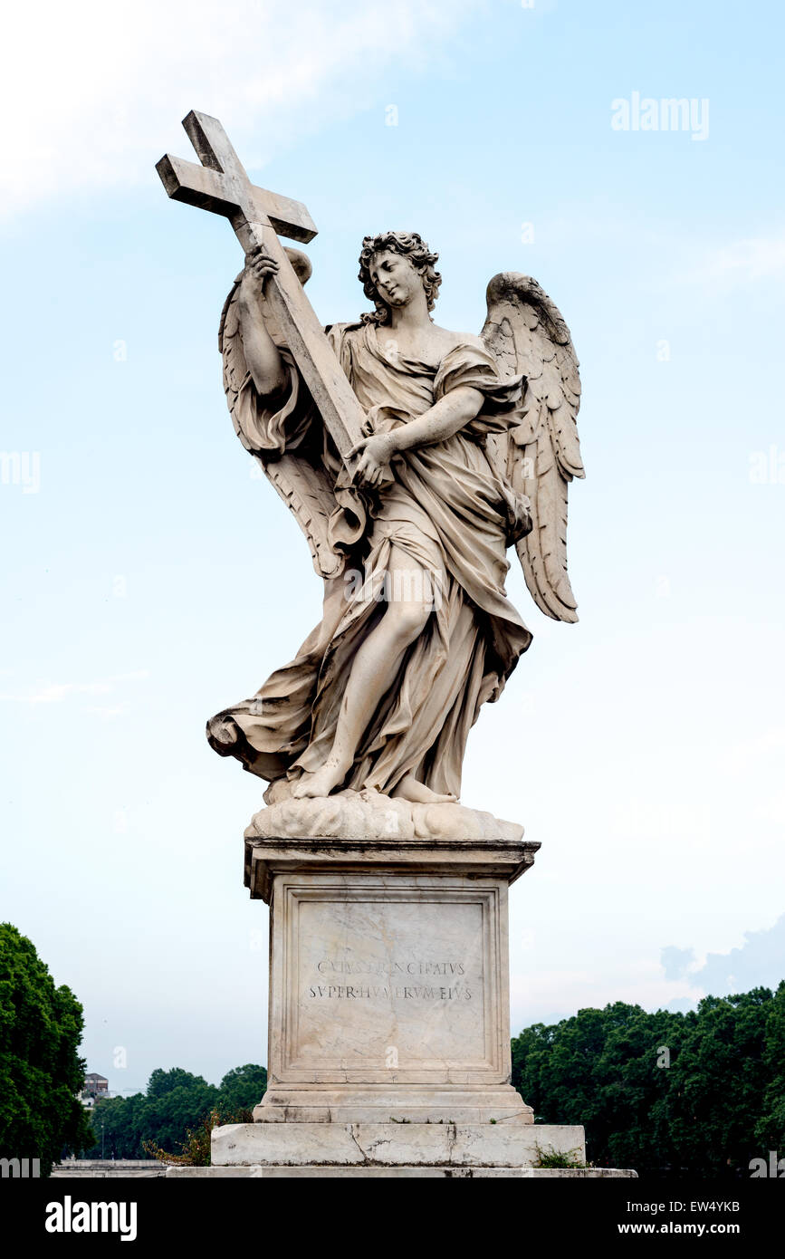 Angel with the Cross on Ponte Sant'Angelo in Rome sculpted in the 17th Century by Ercole Ferrata - Stock Image