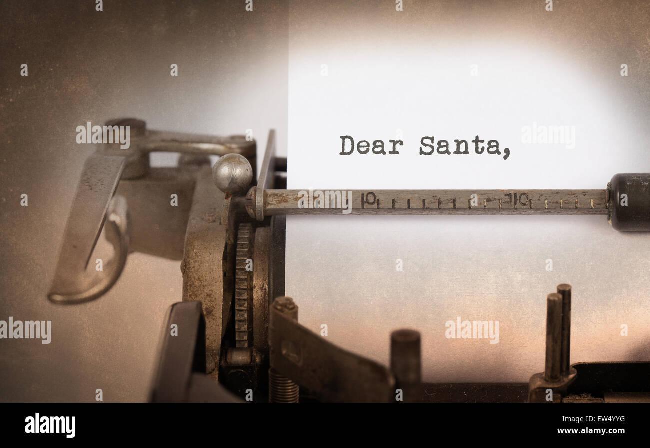 Vintage inscription made by old typewriter, Dear santa - Stock Image