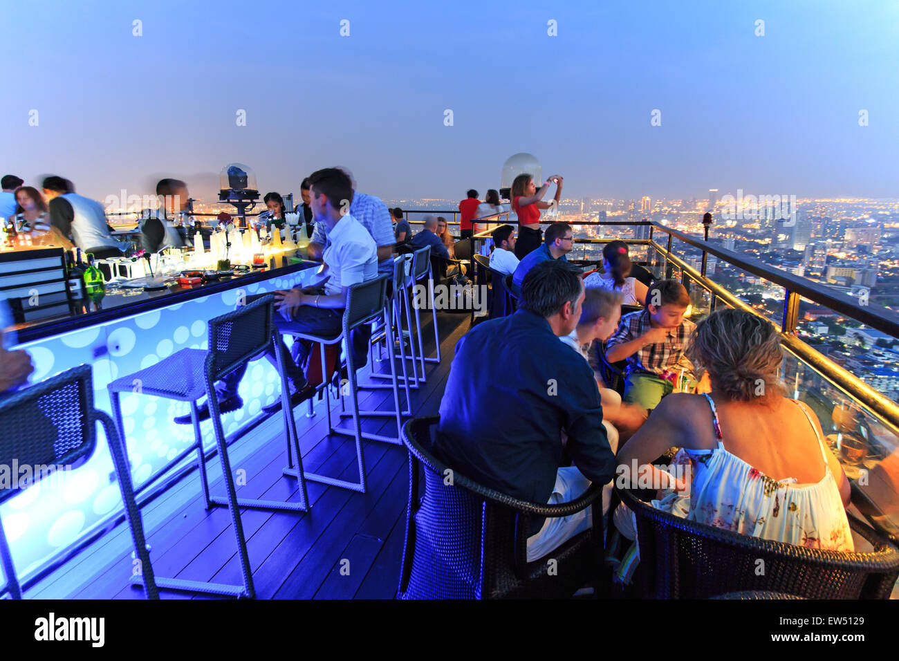 Bangkok, Thailand - April 15,2015: Bangkok by night viewed from a roof top bar - Stock Image