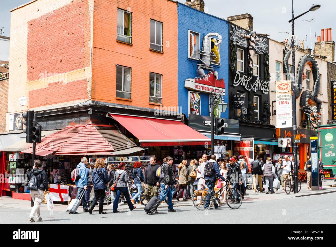 Pedestrians on Camden High Street, London, England, UK - Stock Image