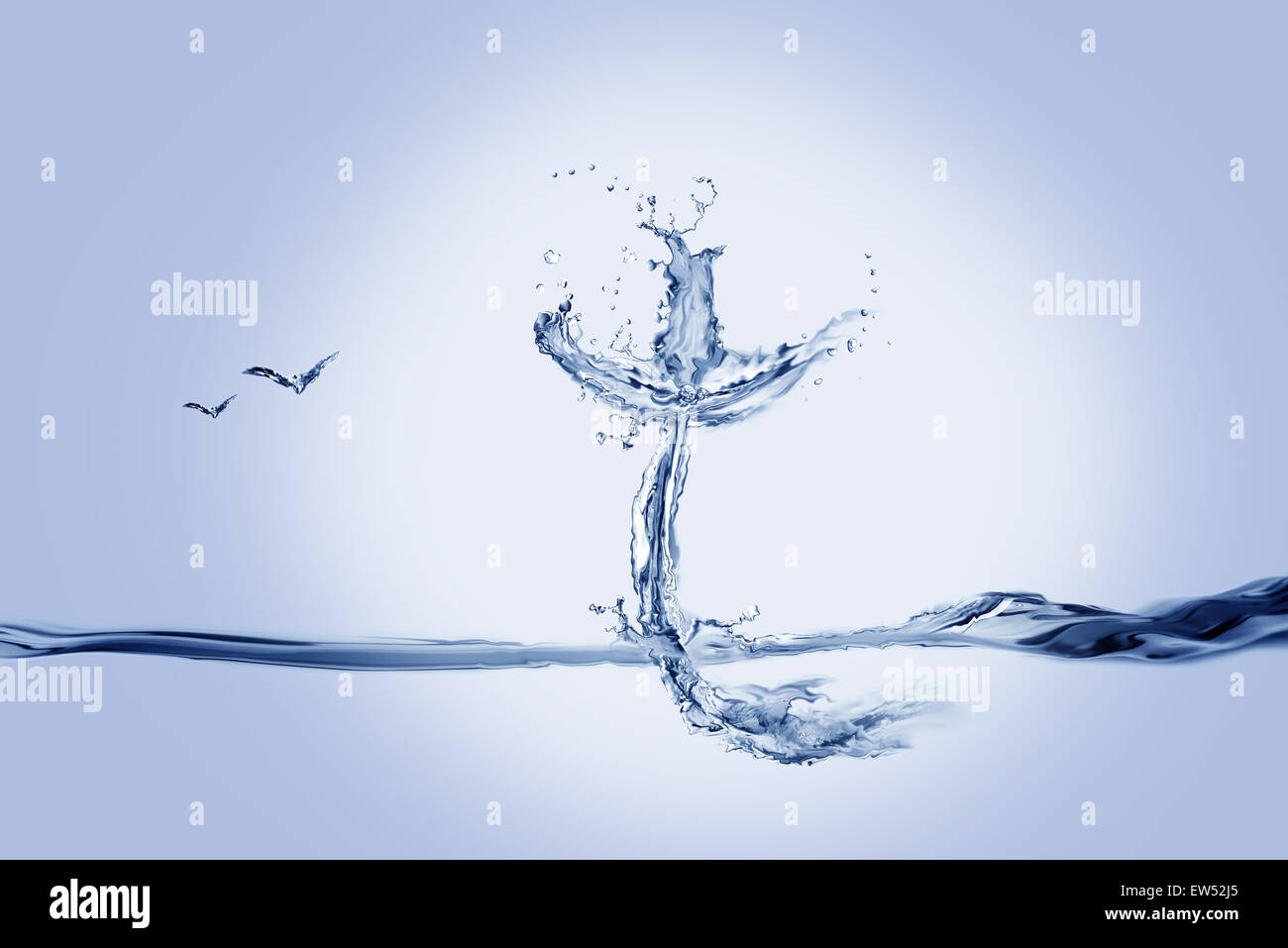 A cross made of water with flying birds. - Stock Image