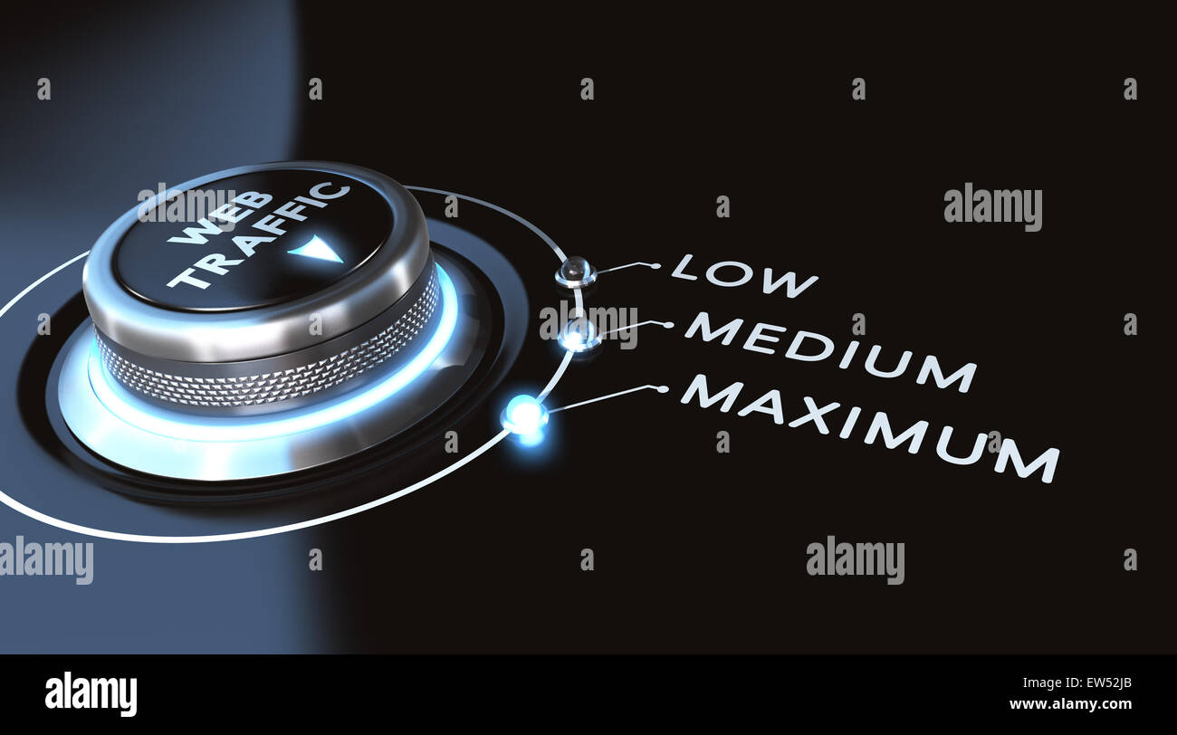 Web traffic concept. switch positioned on maximum. Black background and blue lights. - Stock Image
