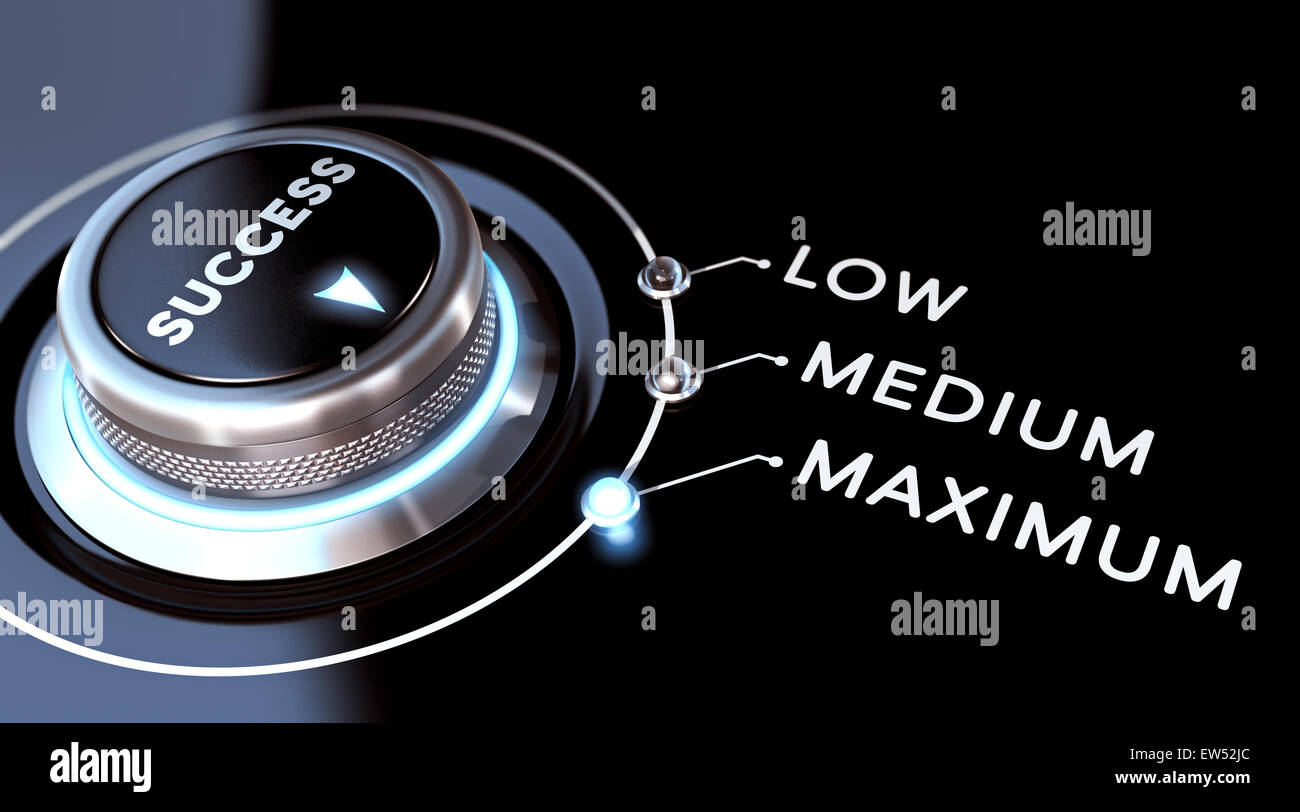 Success image or successful concept. switch positioned on maximum. Black background and blue lights. - Stock Image