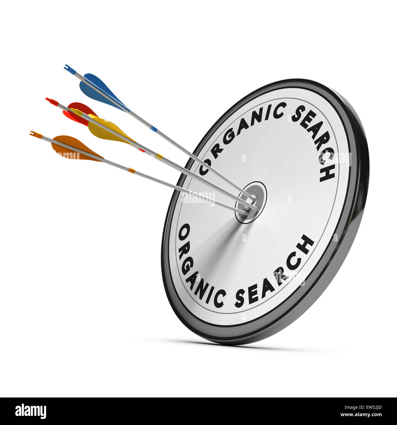Organic search results on a target with four arrows hitting the center, concept for online visibility - Stock Image