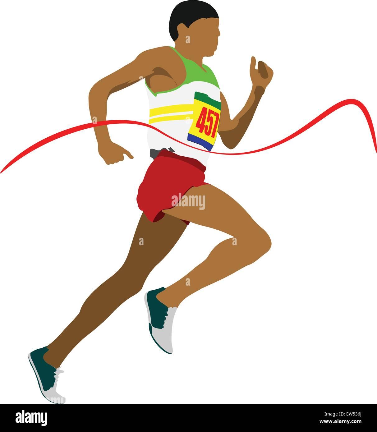 Track and field. Man running. Vector illustartion Stock Vector