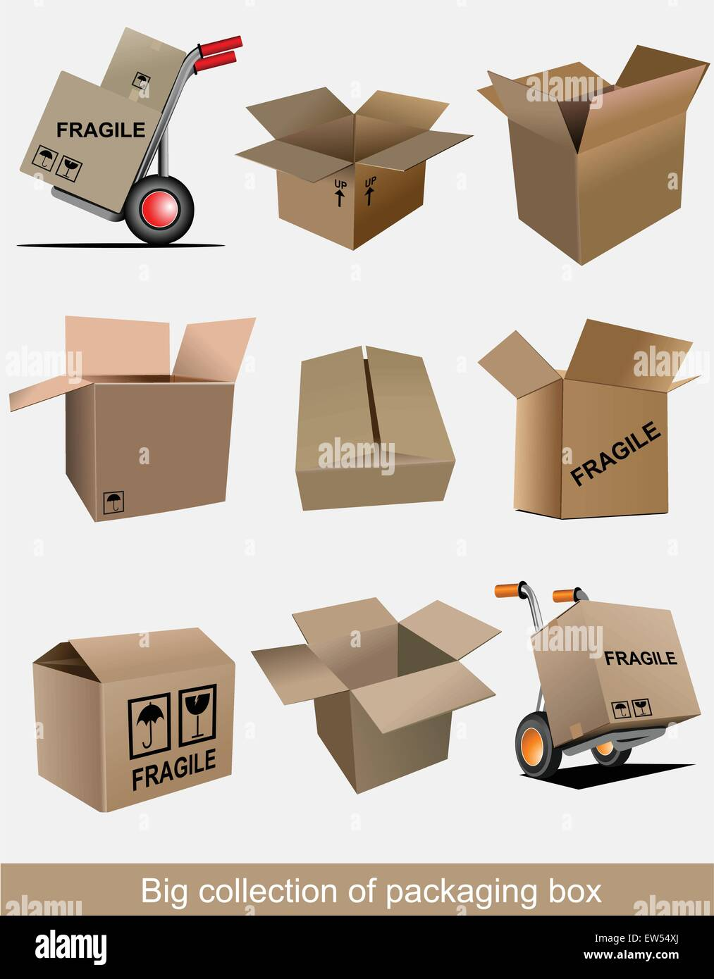 Big collection of carton packaging boxes. Vector illustration - Stock Vector