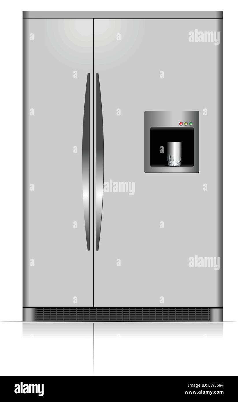Domestic refrigerator with unit for cold water. Vector illustration - Stock Vector