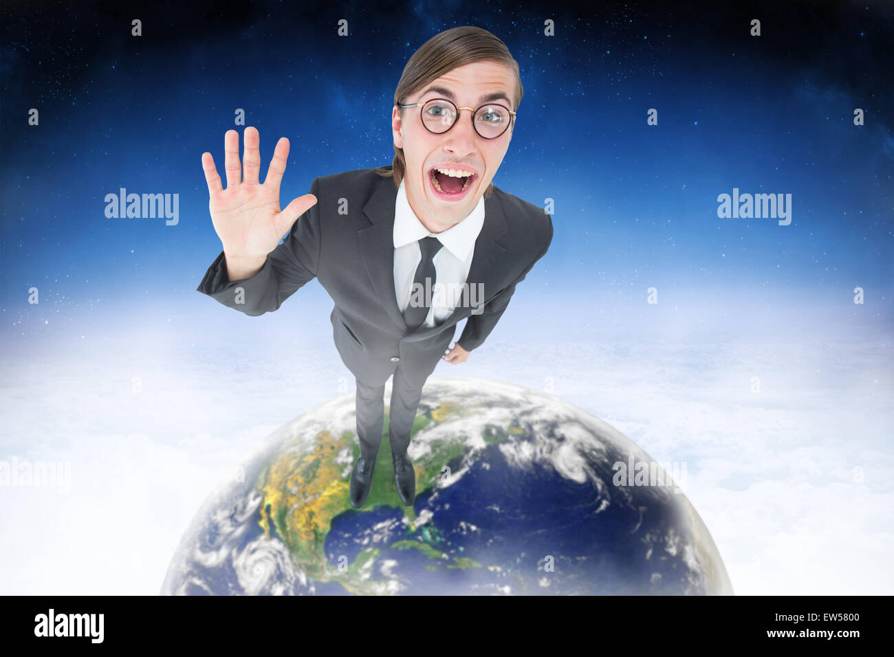Composite image of geeky businessman waving at camera - Stock Image