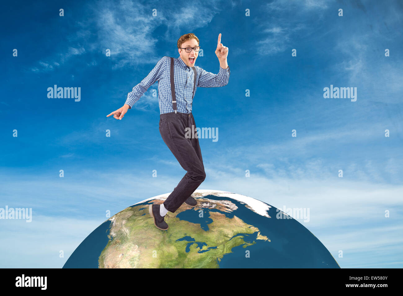 Composite image of geeky hipster dancing to vinyl - Stock Image