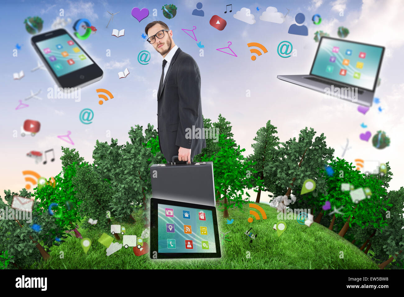 Composite image of geeky businessman holding his briefcase - Stock Image