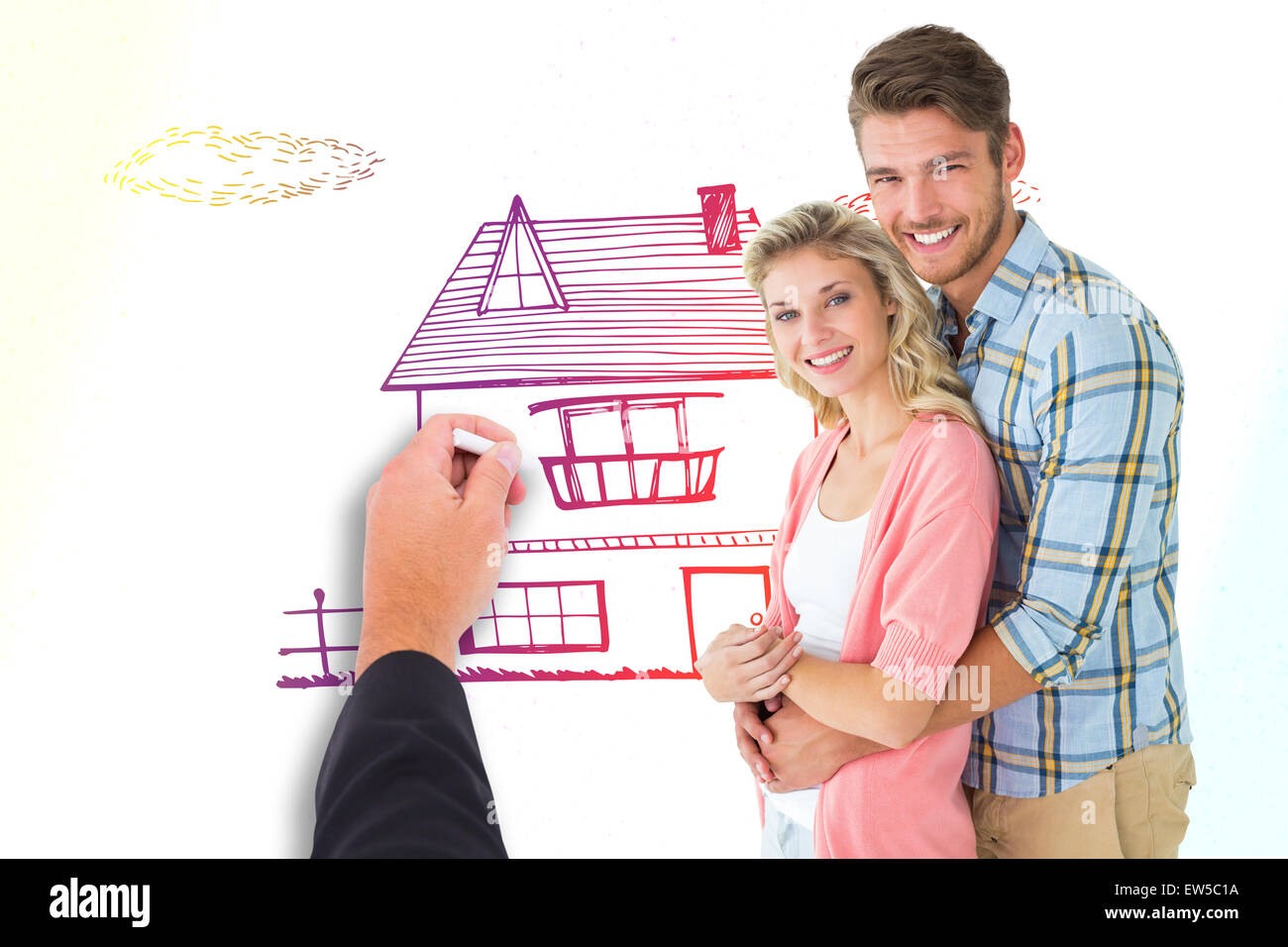 Composite image of attractive couple embracing and smiling at camera - Stock Image