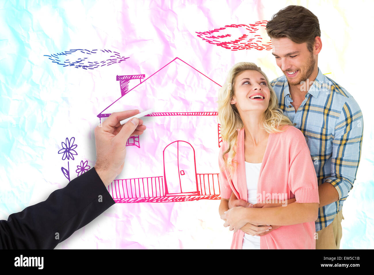 Composite image of attractive young couple embracing and smiling - Stock Image